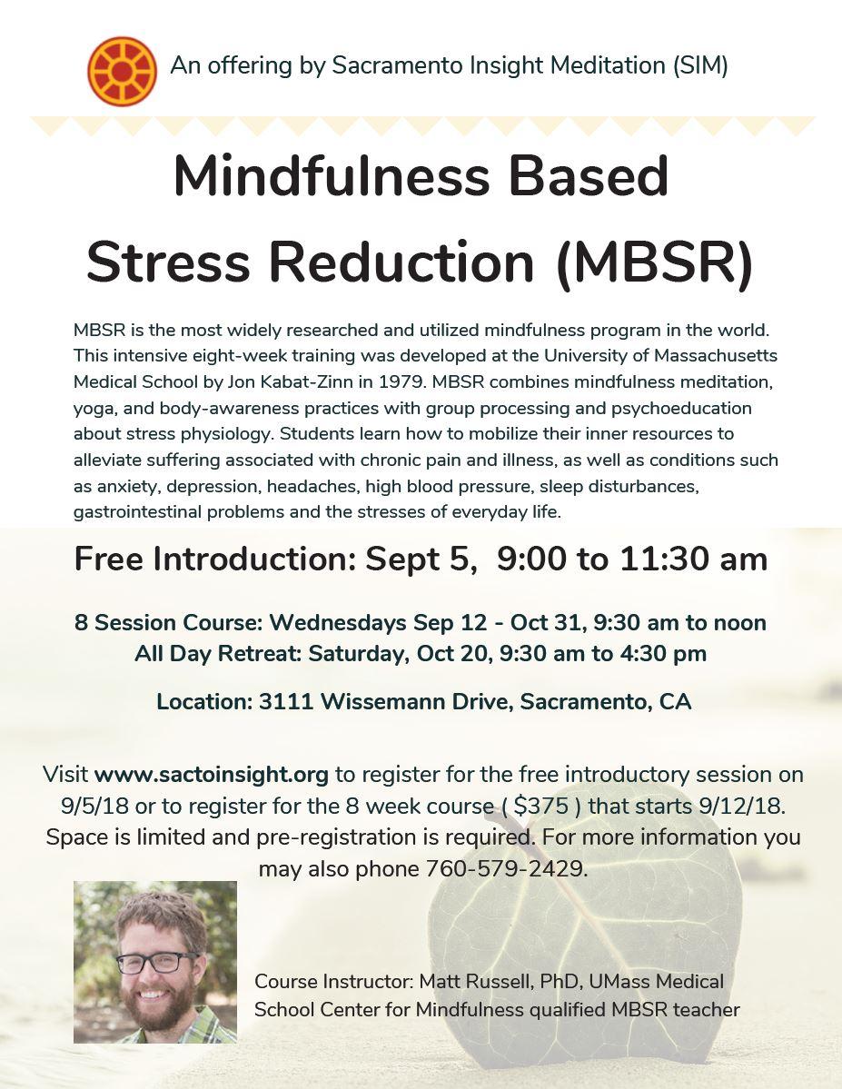 MBSR Course Available: Sep 2018 - Sacramento Insight Meditation