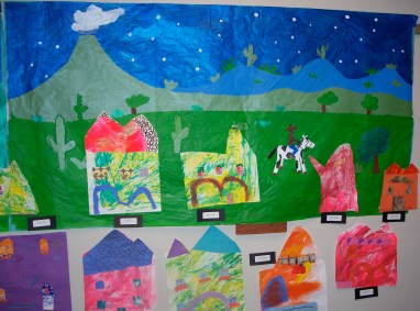 Mrs. Wight's class Mural with 2nd grade houses