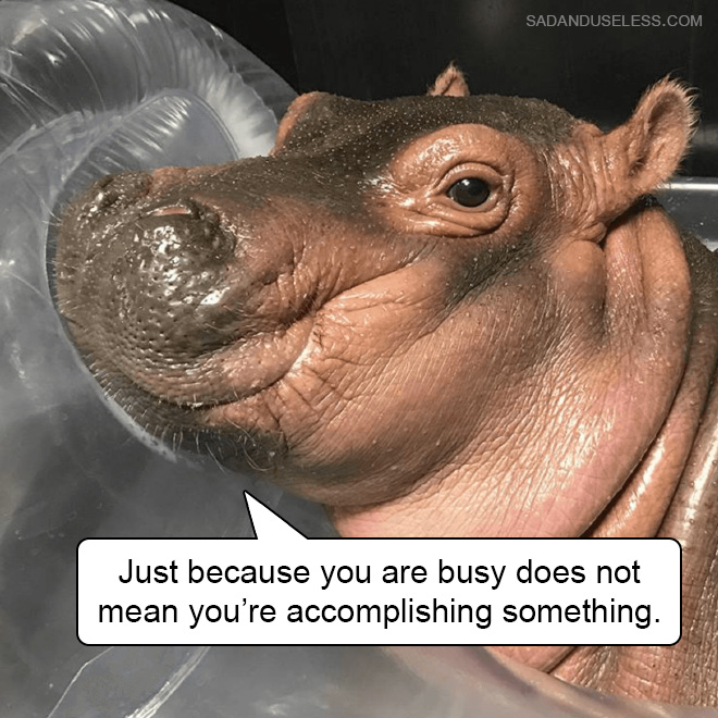 Just because you're busy doesn't mean you're accomplishing something.