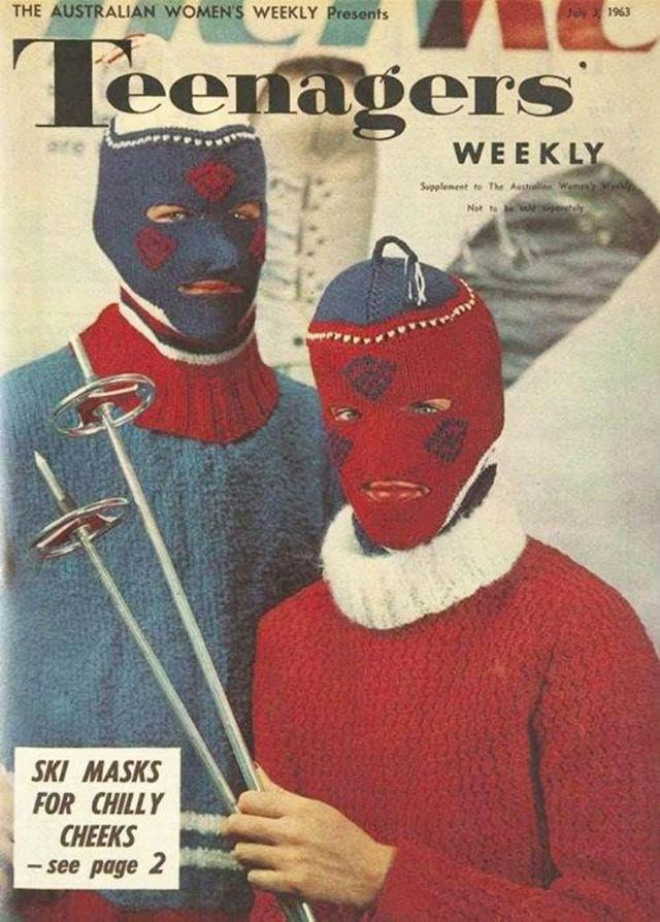 Creepy vintage knitted balaclavas is my favorite thing.