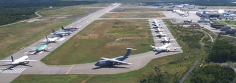 38 aircraft crowded on the tarmac at Gander