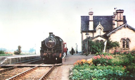 2-6-2 tank loco at Southill, abut 1950