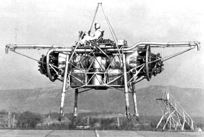 Flying Beadstead, the Rolls-Royce Thrust-Measuring Rig (TMR), an experimental aircraft that was first flown on Aug. 2, 1954