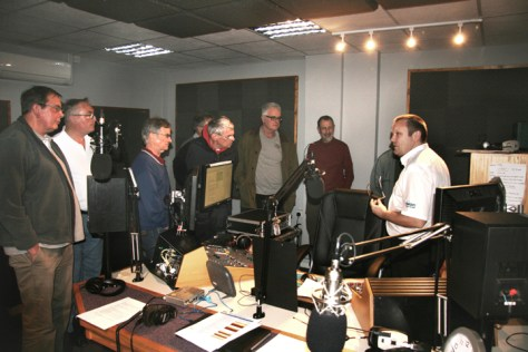 Steve (right) explains studio operations