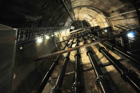 The view up just one of the shafts used to pump the water out. (photo Bristol Post)