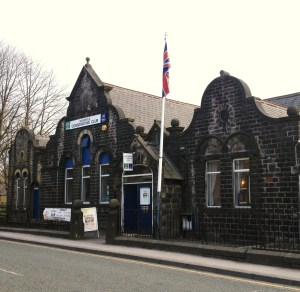 FLYING HIGH: Greenfield Conservative Club flag was eventually lowered (Picture by Carl Royle)