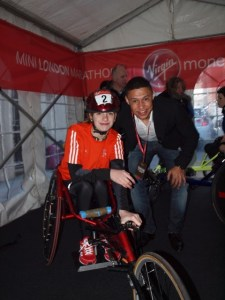 ON YOUR MARKS...Catherine Stott at the Mini Marathon with Premier League footballer Alex Oxlade-Chamberlain