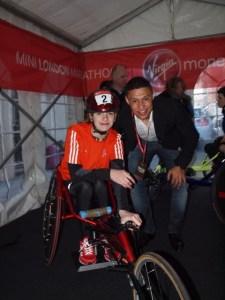 ON YOUR MARKS...Catherine Stott at the Mini Marathon with Premier League footballer Alex Oxlade-Chamberlain