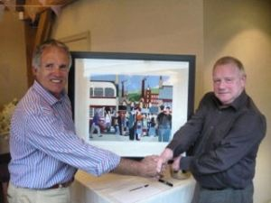 MASTERPIECE: Kevin presents one of his pictures to Paul Cannings