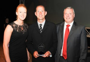 Gary Melling (centre) receives his award for Contribution to School Sport.