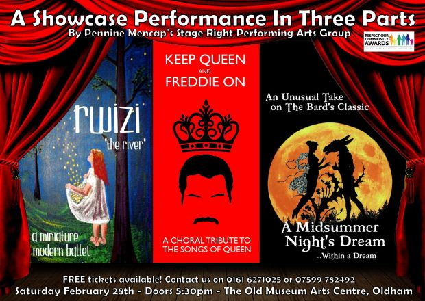 Stage Right Performance Poster - Three Part Showcase Feb 28th 2015 - SINGLE SIDED VERSION FOR PRINT