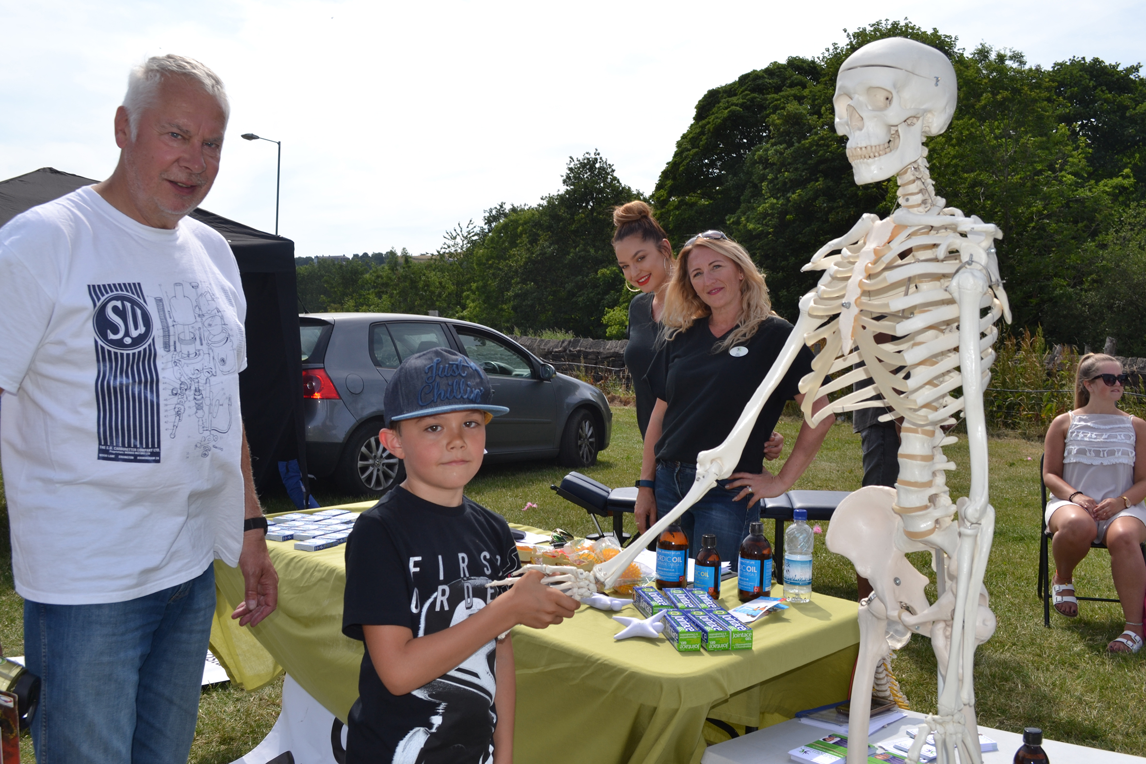 Andrew Lord, Vincent Lord (8) from Newhey, Jo Waldren and Sam Jobey Oldham Chiropractor