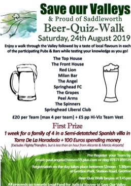 Beer and Quiz Walk Saturday 24th August 2019