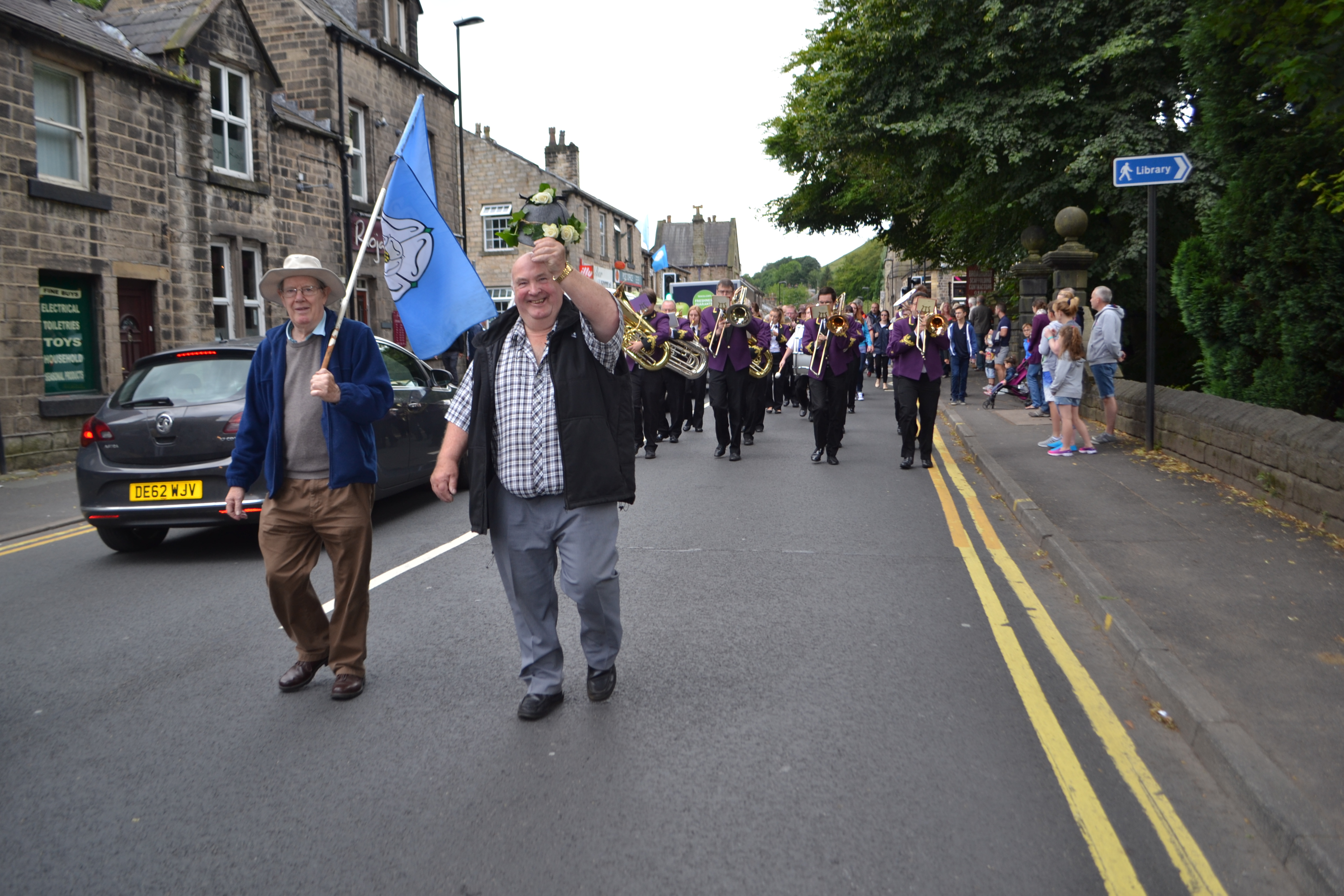 Oliver Benson and Bob Rodgers lead the procession to the County Fair