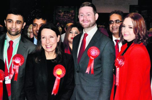 Debbie Abrahams celebrates with Jim McMahon, MP for Oldham West and Royton