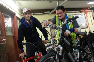 Emmaus companions Paul Townsend and Stuart Hadfield with bikes 1