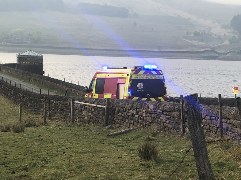 Fire truck at Castleshaw