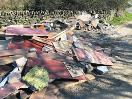 Fly tipping on Harrop Edge Lane