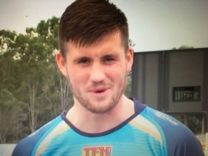 Joe Greenwood in Gold Coast Titans kick