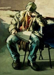 John McCombs Man Reading a Newspaper