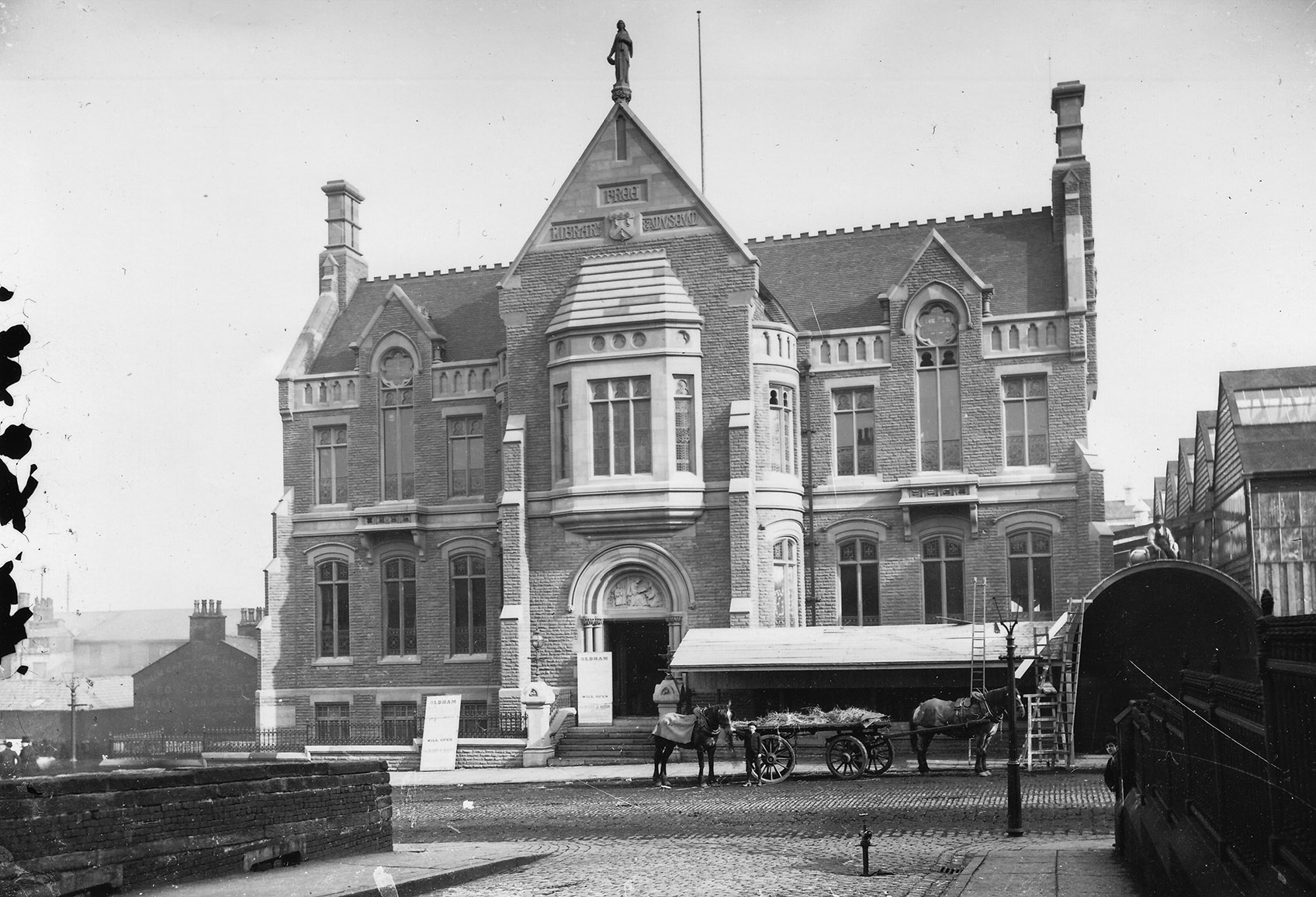 The finishing touches being put to the building just prior to opening in 1883