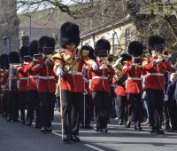 Thousands turn out to watch the Grenadier Guards march into Saddleworth