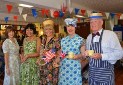 Ddancers Celia Hall and Tessa Spalding, saxophonist Katie Lane and two of the NAAFI Café volunteers Cath Fletcher and Roger Wolfenden