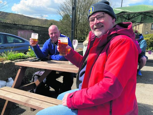 Neil Gannon and Toby Livings enjoy a pint at White Lion