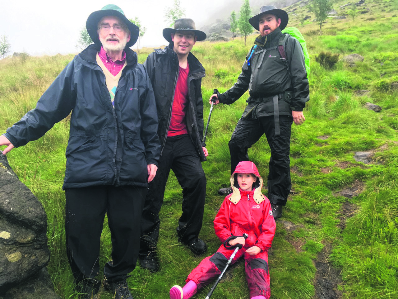 Professor Evans with sons Matthew and David and granddaughter Katie
