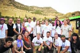 Queen Rania of Jordan (centre) joins in a walk of the Jordan Trail, with Bashir Daoud, CEO of the Jordan