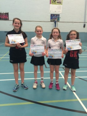 St Paul's and Friezland players of the match, Sarah Scott, Jessica Meek, Sophie Clayton, Holly Giles