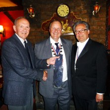 Michael Hall from Saddleworth White Rose Society makes Mayor of Austerlands David Buckley an honorary Yorkshireman