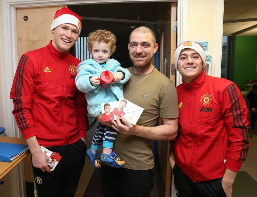 Manchester United Players Deliver Gifts to Patients at Royal Manchester Children's Hospital