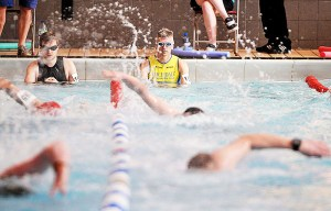 Tim Bradley 26.04.15 Milltown Sprint Triathlon, Uppermill, Saddleworth. Swimmers ready to start