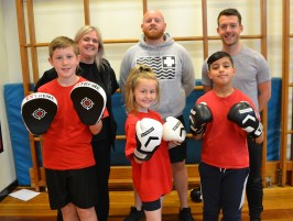 Boxing: James Brennan with year 5 pupils Millie Hurst, Junaid Nawaz and Harry Crowther and Vanessa Payne and Tommy Bunn