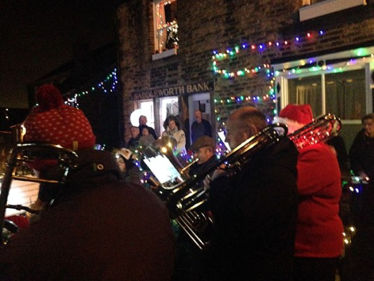 The brass band entertain at the switch-on in Dobcross (Picture thanks to Helen Morris)