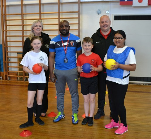 Dodgeball: Year 5 pupils Josh Dolan, Rubat Mukhtar and Lucia Barry with Serge Modjo
