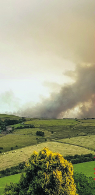 moors blaze seen from A62.2