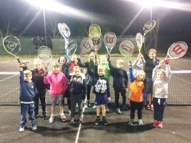 Young players at mini tennis