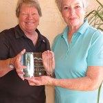 President Louise Bidwell congratulates Club Champion Susan Elliott