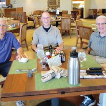 Men enjoy breakfast and Bible Study.