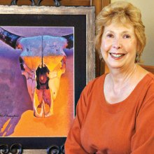 Vicki Cunningham's mixed media, No Bull At Sunset; photo By J. Cohen and V. Cunningham
