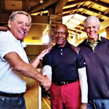 Clarance Johnson, SMGA 2015 Most Improved Golfer, is congratulated by Handicap Chair Rob Malik (left) and SMGA President Greg Tarr (right).