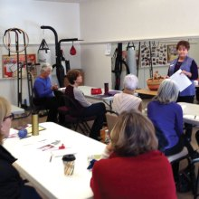 Linda Hood teaches a class as part of our Knit Along vest option offered this spring.