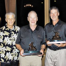 SMGA President Greg Tarr presents Bertil and Fredrik Sultan with the coveted RoadRunner Classic Saddle Trophies.