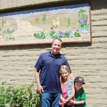 Michael, Kalyn and Hayden Hawkins. Michael did the grouting work; photo courtesy of the San Manuel Miner.