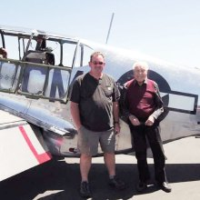 Fred Klein (right) checks flying a P-51 Mustang off his bucket list (shown with his co-pilot).