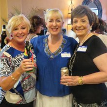 Janie, Anne and Patti at August 2016 Snack and Chat; photo by Ron Talbot.