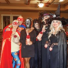 And the winners of the Unit 21 Halloween Costume Contest (left to right) are: Pat and Ron Andrea – Supergirl and Superman - winners of best superhero/heroine category; Midge Mollenkopf - Face from Your Nightmares - winner of best Halloween/monster are Pat Anderson, Sherry England and Connie Wortman – The three widowed witches of SaddleBrooke - winners of best couple (real or fictional) who were actually a trio.