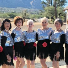 Dancers, left to right: Linda Schuttler, Caryl Mobley, Ann Kurtz, Vivian Herman, Claudia Booth, Kathleen Dunbar and Laurie Page